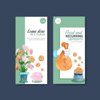 Design de folheto com finanças, negócios, moeda e bancário ilustração aquarela.