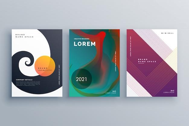 Design de folheto comercial abstrato definido em estilo criativo