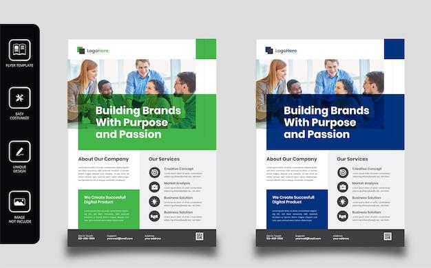 Design de folheto comercial e modelo de página de capa do folheto