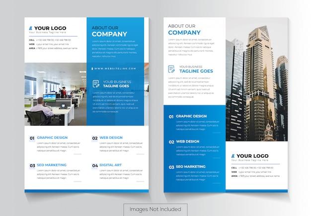Design de folheto corporativo com duas versões diferentes