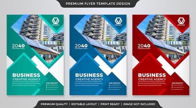 Design de folheto corporativo com uso de estilo abstrato para cartaz de negócios
