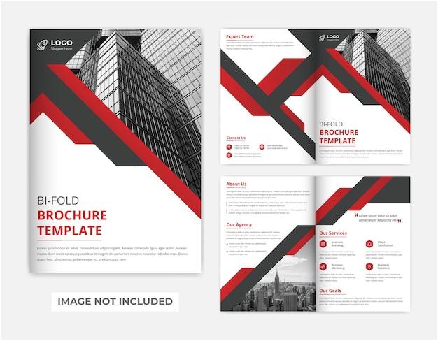 Design de folheto corporativo moderno corporativo vermelho e preto com duas dobras