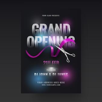 Design de folheto da festa de inauguração com tesoura cortando fita