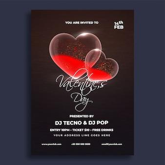 Design de folheto de comemorações do dia dos namorados.