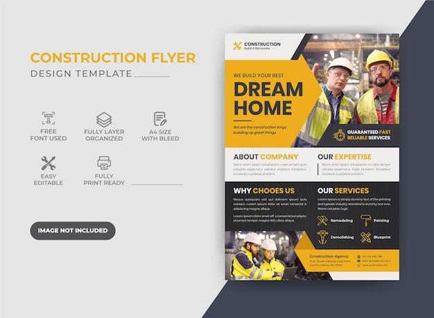 Design de folheto de construção corporativa de cor amarela