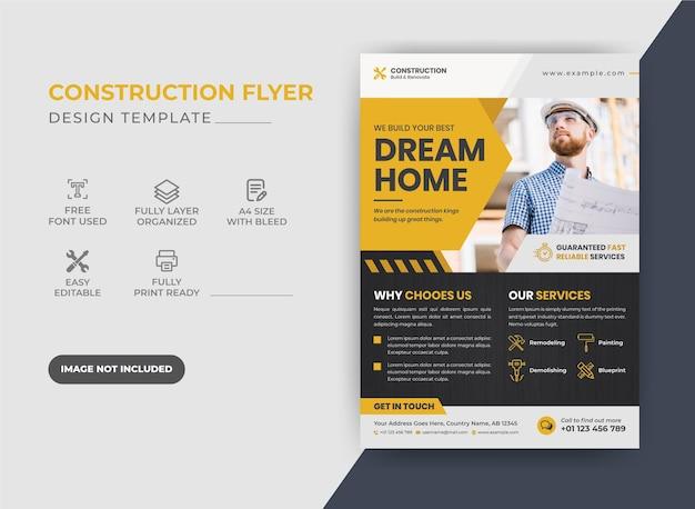 Design de folheto de construção corporativa moderna criativa