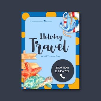 Design de folheto de dia de turismo com âncora, anel de natação, estrela do mar, tartaruga