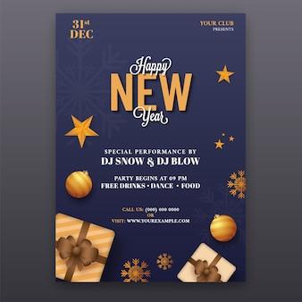 Design de folheto de feliz ano novo na cor azul com detalhes do evento