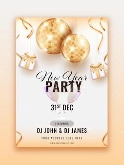 Design de folheto de festa de ano novo com bolas douradas de discoteca