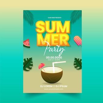 Design de folheto de festa de verão com bebida de coco e detalhes do evento.
