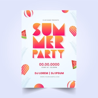 Design de folheto de festa de verão com fatias de aquarela, sorvete e bolas de praia