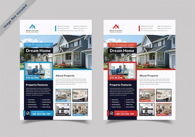 Design de folheto de imóveis de casa de sonho Vetor Premium
