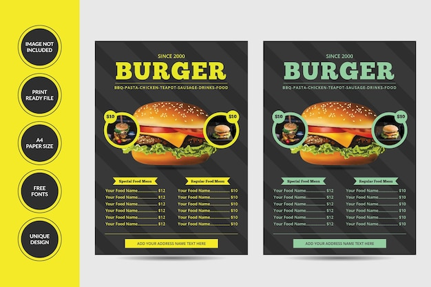 Design de folheto de menu de comida