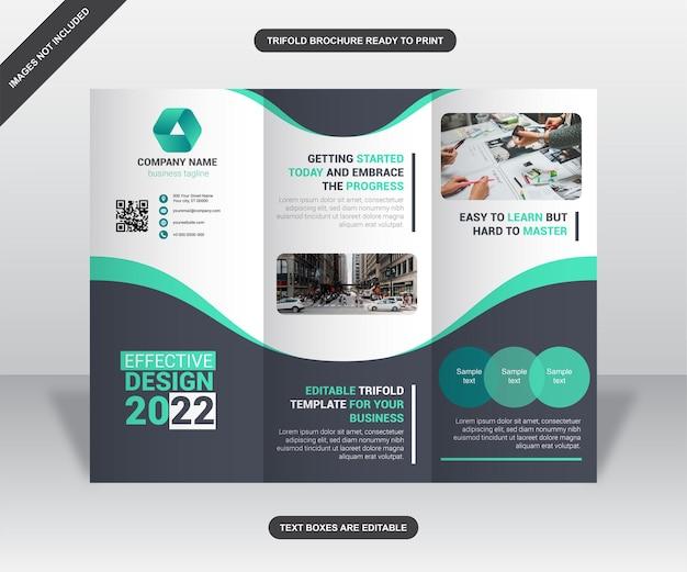 Design de folheto de negócios com três dobras nas curvas verdes e cinzas