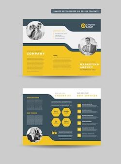 Design de folheto de negócios com três dobras