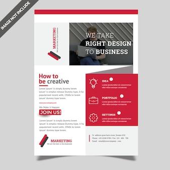 Design de folheto de negócios vermelho