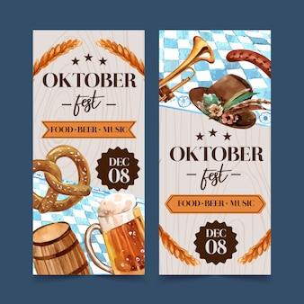 Design de folheto de pretzel, trigo, cerveja e chapéu tirolês
