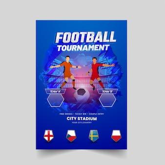 Design de folheto de torneio de futebol com participar da equipe de dois jogadores de futebol no fundo do estádio azul.