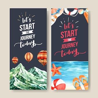 Design de folheto de turismo com montanha, balão de praia, mar e outros.