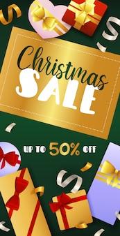 Design de folheto de venda de natal com distintivo dourado