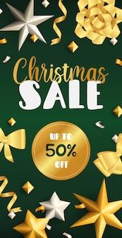 Design de folheto de venda de natal com fitas douradas