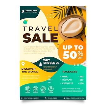 Design de folheto de venda de viagens com foto