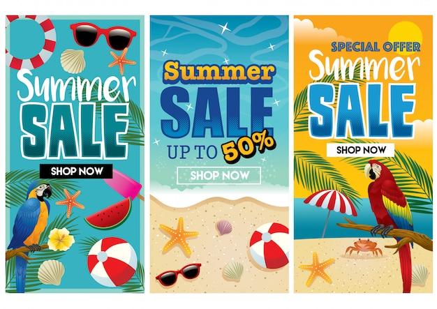 Design de folheto de verão tropical no conjunto