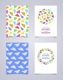 Design de folheto decorativo feito de aviões de papel
