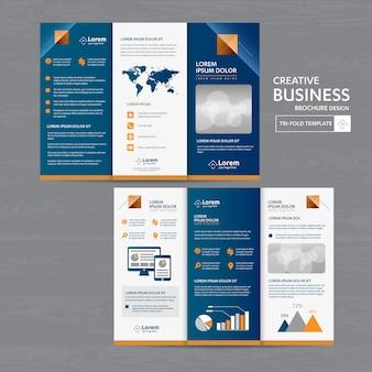 Design de folheto dobrável em três partes do folheto do negócio