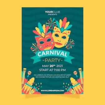 Design de folheto e cartaz de festa carnaval plana