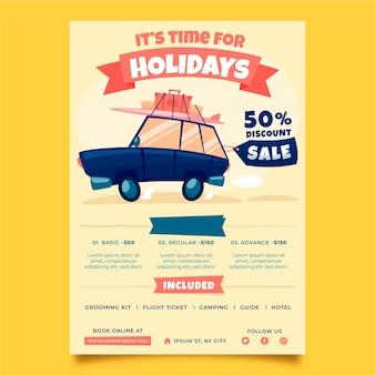 Design de folheto ilustrado para venda de viagens