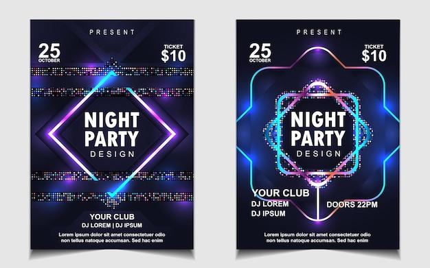 Design de folheto ou cartaz de festa colorida à noite