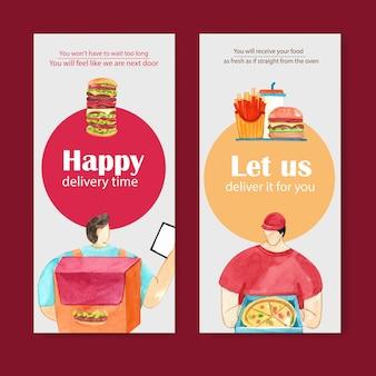 Design de folheto para entrega de comida com hambúrguer, batatas fritas, ilustração em aquarela de pizza.