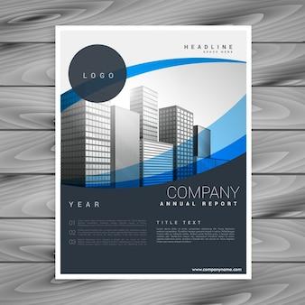 Design de folheto profissional da empresa elegante e ondulada azul