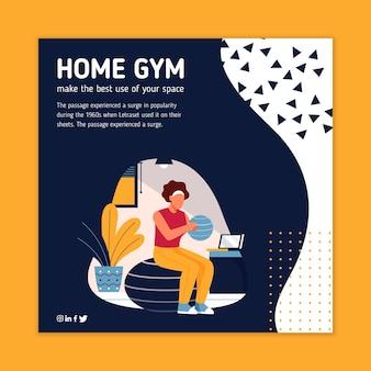 Design de folheto quadrado de esporte em casa
