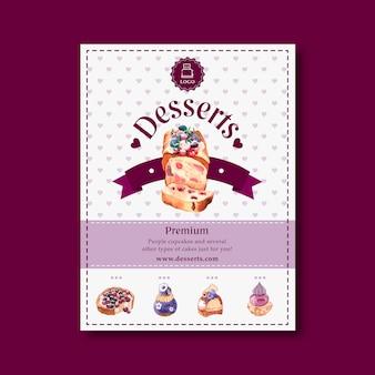 Design de folheto sobremesa com bolo de frutas, bagas, mirtilo, ilustração aquarela flor.