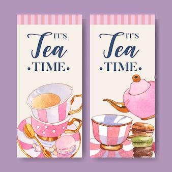 Design de folheto sobremesa com macarons, bule, xícara, ilustração em aquarela de colher de chá.