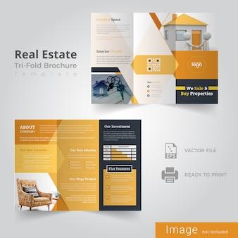 Design de folhetos com três dobras imobiliárias