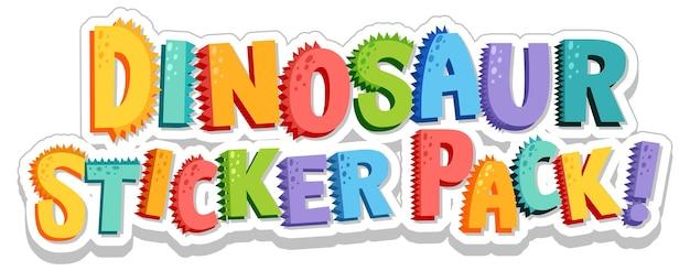 Design de fonte com a palavra dinosaur sticker pack