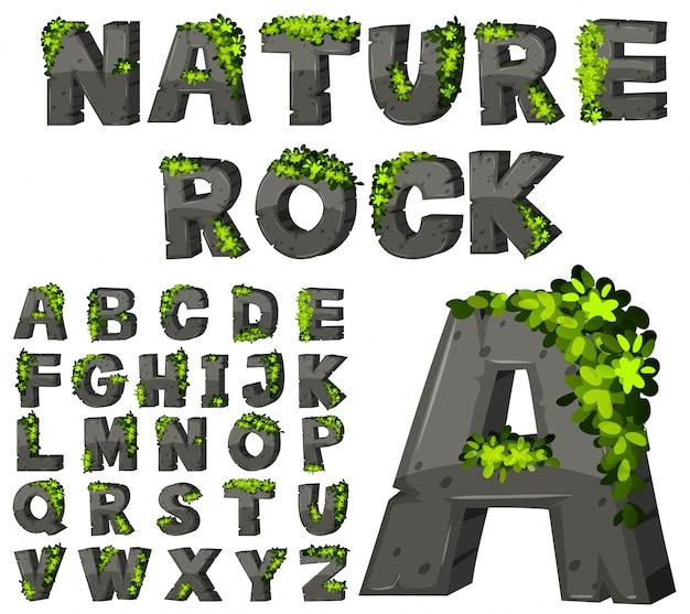 Design de fonte com textura de rocha