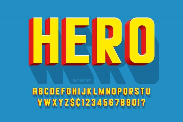 Design de fonte cômica na moda 3d, alfabeto colorido, tipo de letra