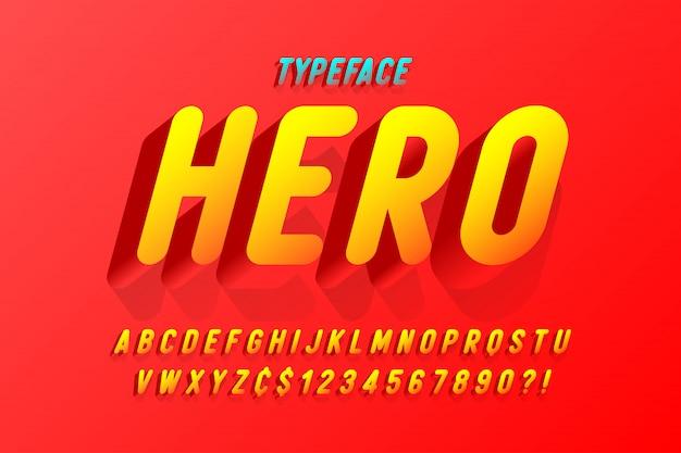 Design de fonte cômica na moda 3d, alfabeto colorido, tipo de letra.