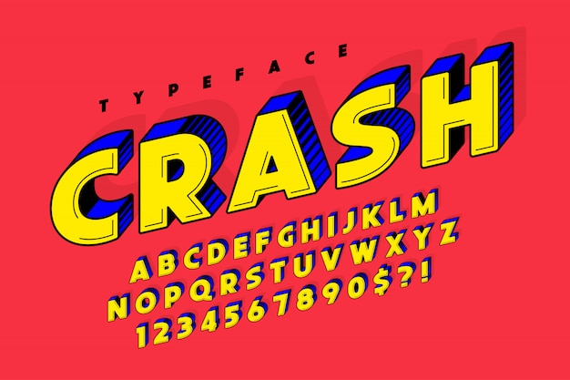 Design de fonte cômica na moda 3d, alfabeto colorido