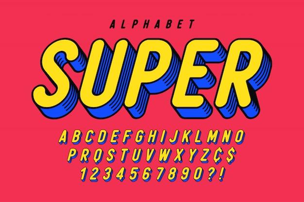 Design de fonte cômica na moda, alfabeto colorido, tipo de letra