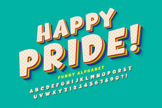 Design de fonte de arco-íris de exibição original, alfabeto, letras e números.