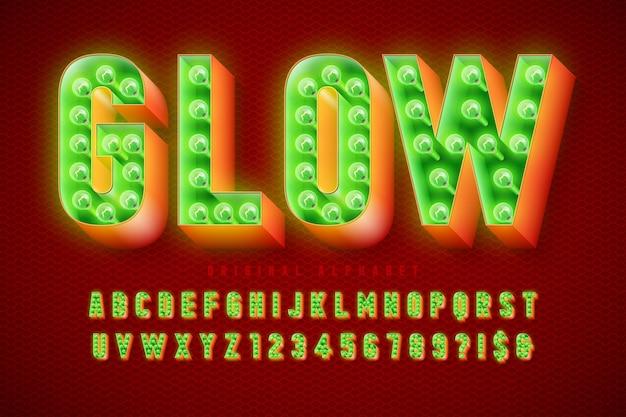 Design de fonte de cinema retrô, cabaré, lâmpadas, letras e números. controle de cores de amostras
