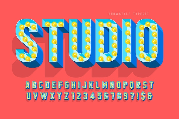Design de fonte de cinema retrô, cabaré, lâmpadas, letras e números.