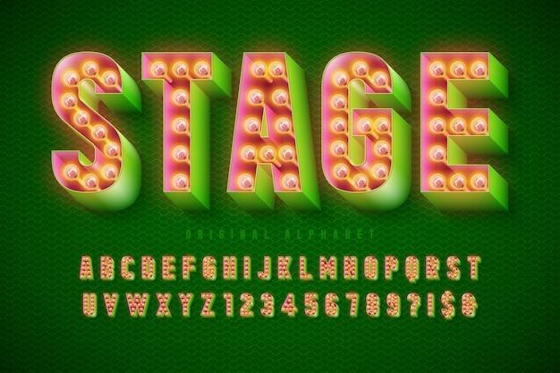 Design de fonte de cinema retro, cabaré, letras de lâmpadas e números.