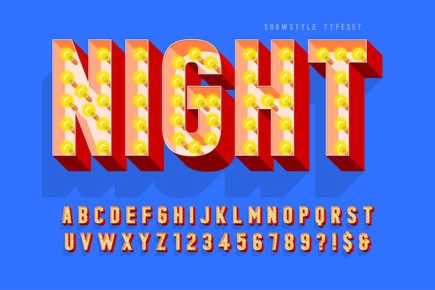 Design de fonte de cinema retrô, lâmpadas, letras e números.