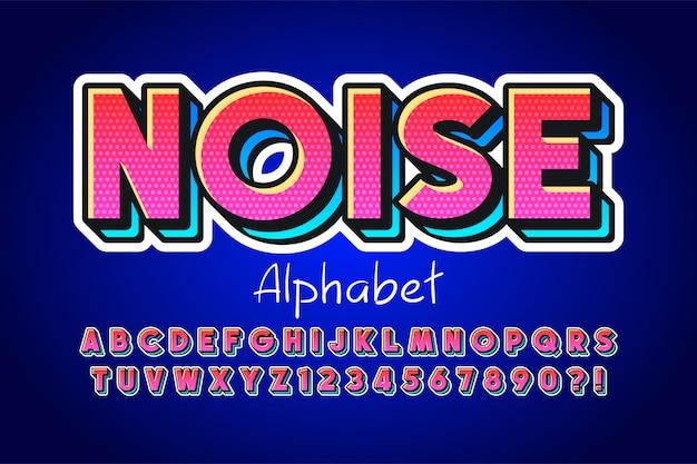 Design de fonte de exibição 3d colorida, alfabeto, letras